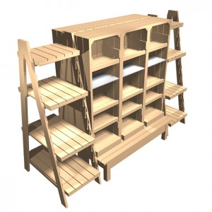 Gift Shop fixture with mid height chunky crates and ladders