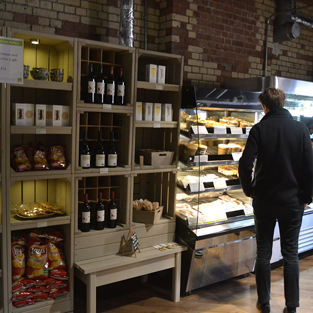 Linkshelving rustic display equipmentshop galleries for Coffee shop display ideas