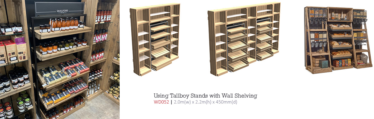 Combining-Tallboys-stands-with-wall-shelving