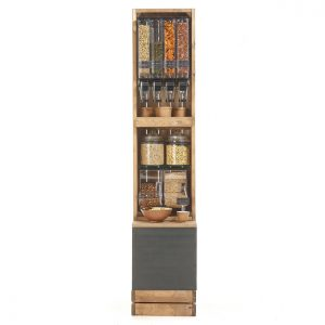 Crate-dispenser-single-row-with-scoop-bins-straight-on