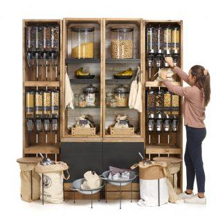 Gravity-dispenser-with-storage-crates