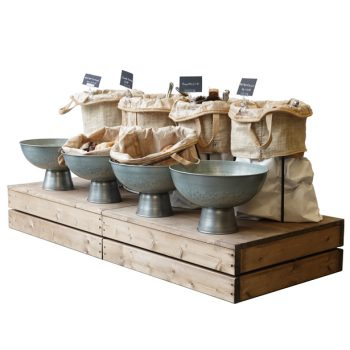 Plinth-x2-with-white-sack-stands-and-galvanised-bowls