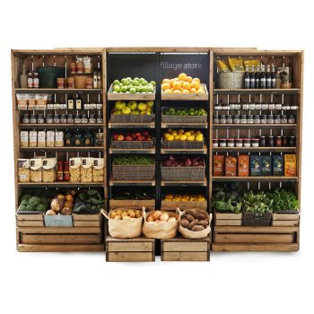 Chunky-full-height-shelving-with-table-top-slopers-and-tallboys-Fruit-and-veg-wall
