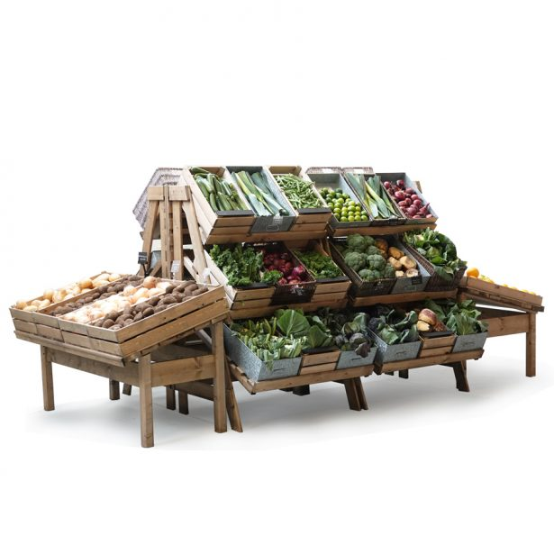 Fruit-and-veg-island-with-sloping-table-ends-and-chatto-stands