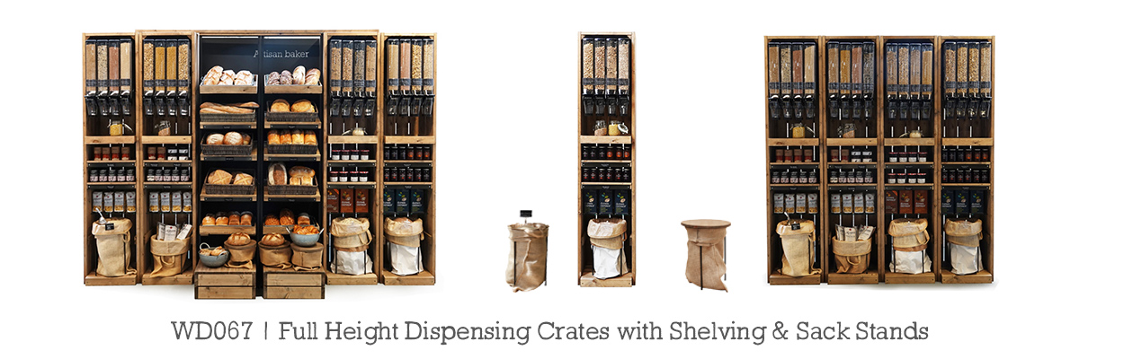 wd067-Full-Height-Dispensing-crates-with-shelves-and-sack-stands