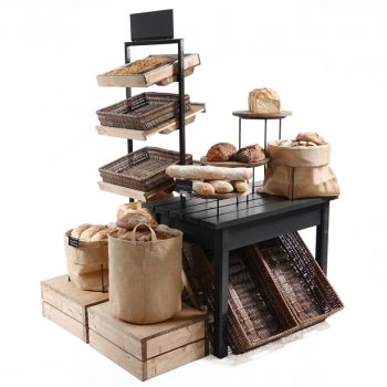 Bakery-island-with-tallboy-Black-gift-table-and-plinths