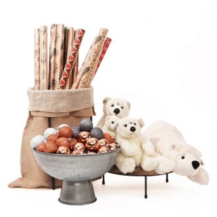 Christm-Sack-Set-with-Wrapping-Paper-soft-toys-and-Galvanised-bowl