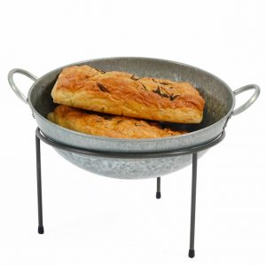 Galvanised-bowl-sitting-on-open-sack-stand-beakery-display