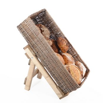 Large-wicker-basket-on-easel-bakery-display