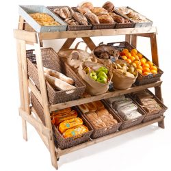 Multi-tier-stand-with-wicker-and-sacks-bakery-displays