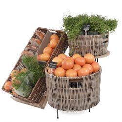 Easel-and-large-wicker-dump-bin-grapefruit-and-thyme