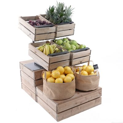 Fruit-display-on-double-height-plinth-with-tilt-stands