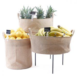 Hessian-Dump-Bins-Fruit-display