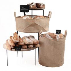 Merchandising-risers-with-500mm-dump-bins-Bakery-display