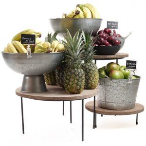 Merchandising-risers-with-galvanised-bowls-Juicing-Bar-display
