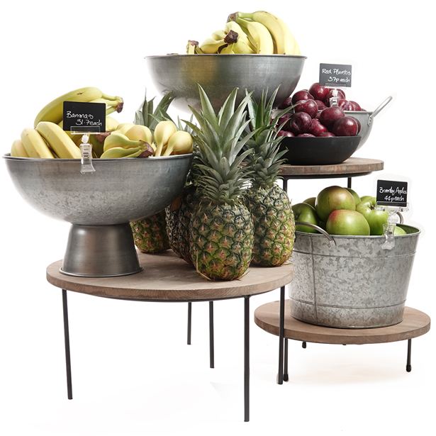 Merchandising-risers-with-galvanised-bowls-Juicing-Bar-display