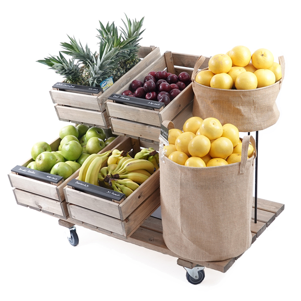Mobile-juice-display-with-hessian-dump-bins-and-tilt-stands