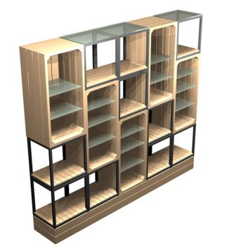 2500mm-Semi-Open-Wall-Display-with-cubes-and-crates
